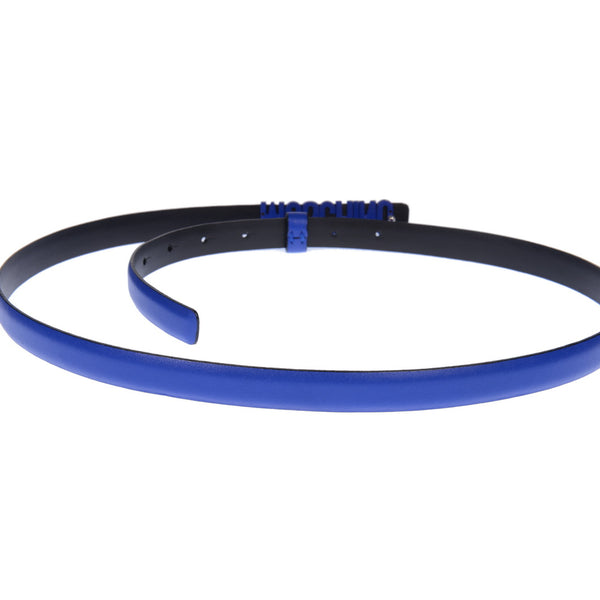 Monochromatic Blue Leather Slim Logo Belt