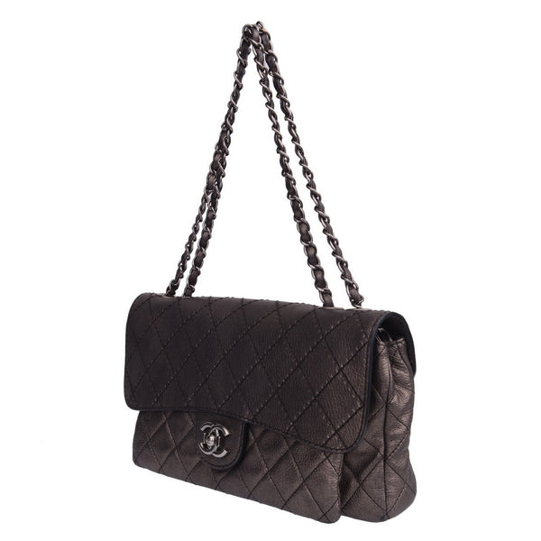 Metallic Grey Double Compartment Shoulder Bag