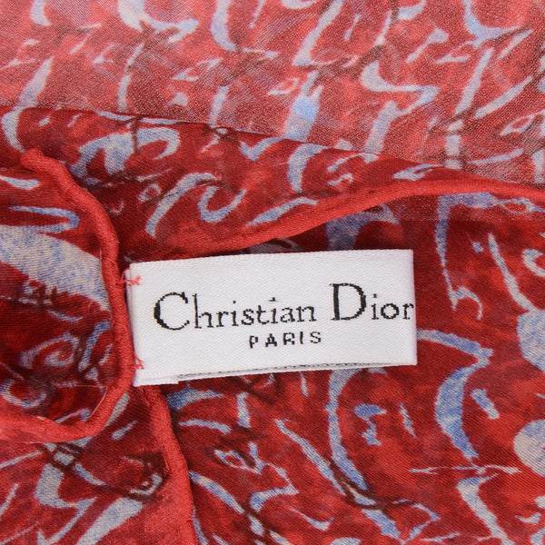 Strawberry Red Silk Patterned Scarf
