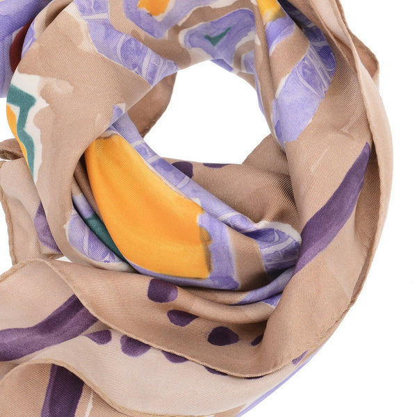 Beige Painting Canvas Silk Scarf