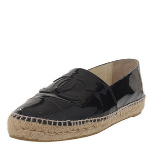 Navy Blue Patent Leather CC Espadrilles