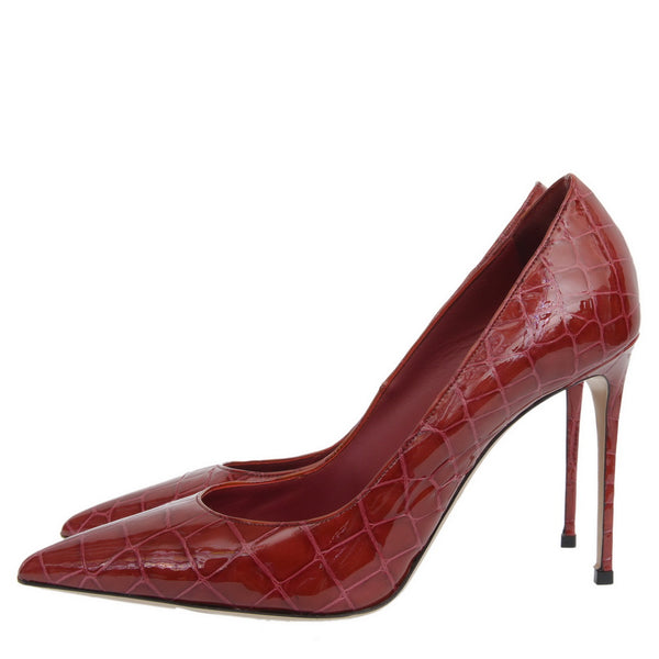 Red Crocodile Patent Leather Pumps
