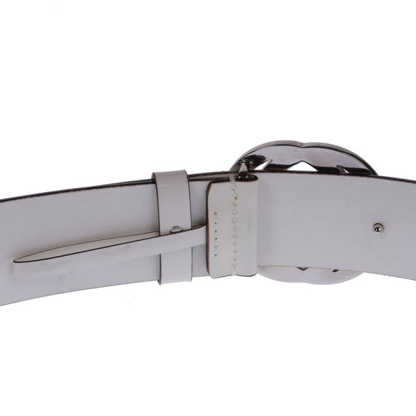 Patent White Interlocking G Buckle Belt