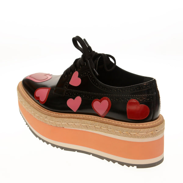Heart-Print Leather Platform Espadrille Oxfords