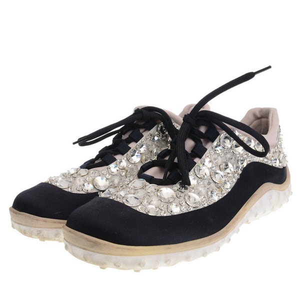 Crystal Embellished Satin Trainers
