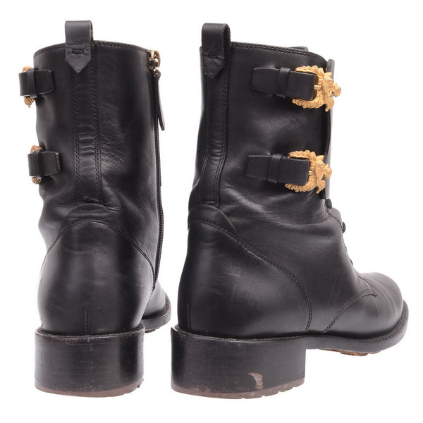 Black Leather Booties With Gold Lions