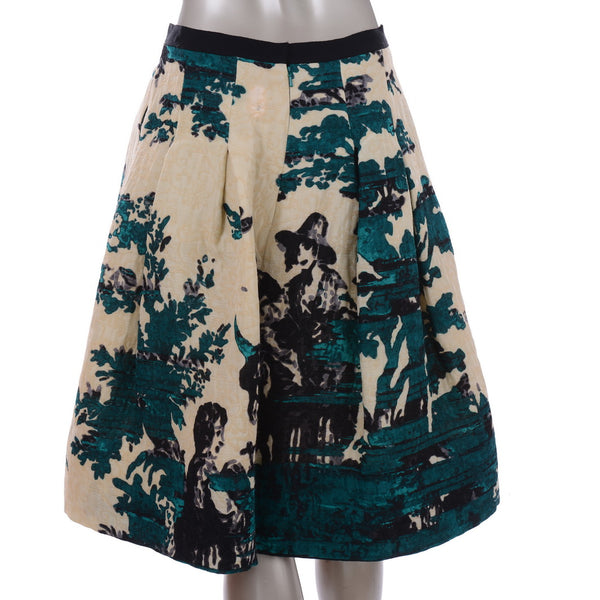 Wool Floral Puff Skirt