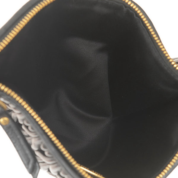 Black Leather Quilted Clutch