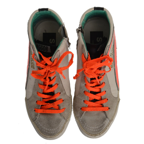 White Leather Trainers with Hot Orange Laces