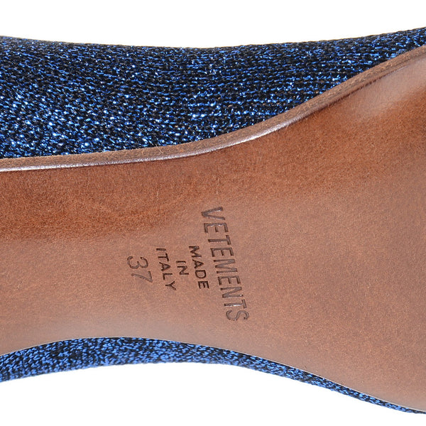 Blue Shimmer Lurex Sock Ankle Boots
