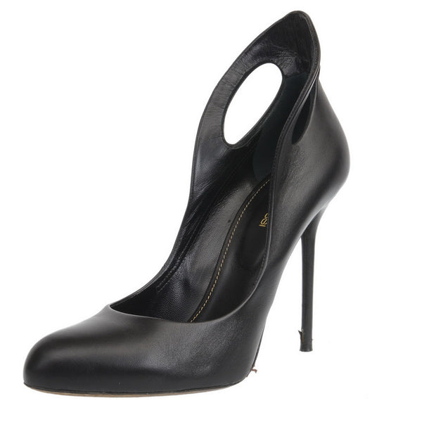 Black Leather Stiletto Heels with Ankle Grazer