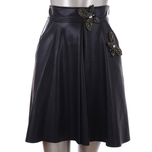 Leather Skirt With Crystal Embellishment