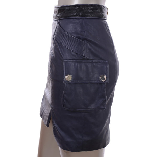 Navy Leather Skirt