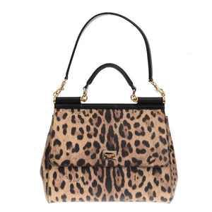 Leopard Printed Canvas Miss Sicily Tote