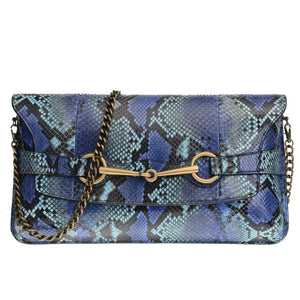 Blue Multicolor Python With Horsebit Clutch
