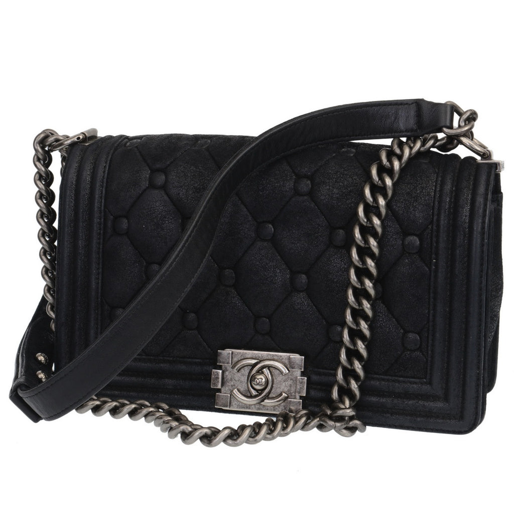 b42f2d5919c3 Chanel. Charcoal Black Suede Quilted Boy Bag
