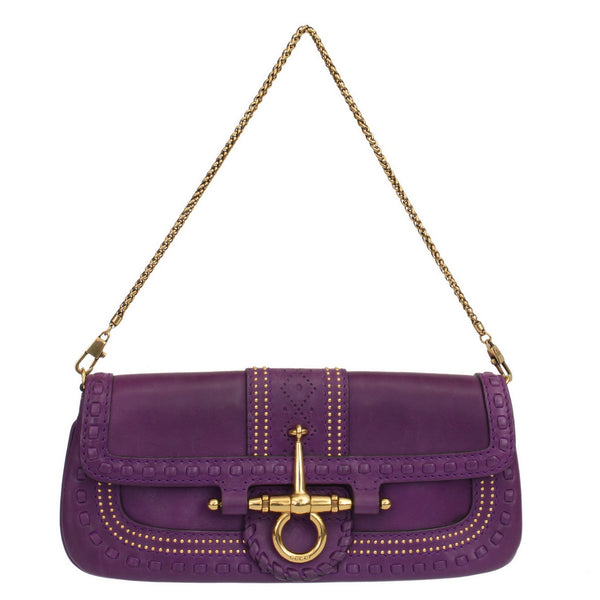 Purple Leather Clutch With Gold Studs