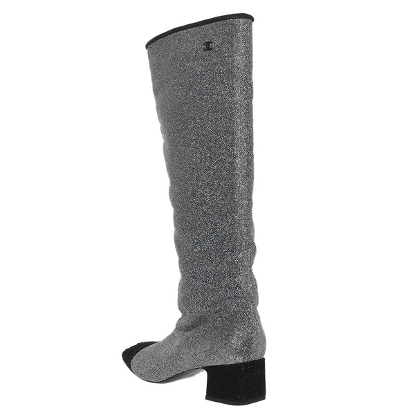 Silver & Black Glitter Fabric Milky Way High Boots