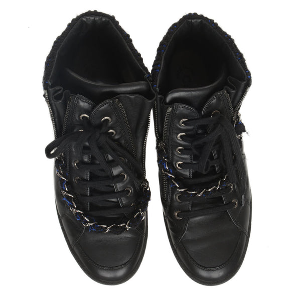 Black Leather Blue Tweed Chain High Top Sneakers