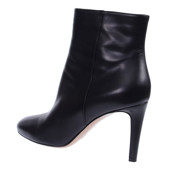 Black Leather Short Ankle Boots