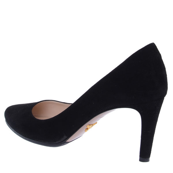 Black Suede Low Heel Pumps