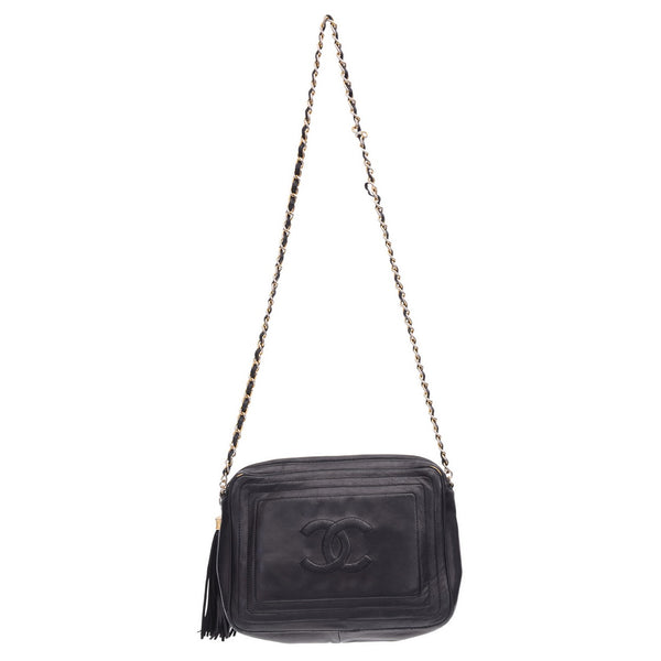 Vintage Black Lambskin Camera Tassel Crossbody Bag