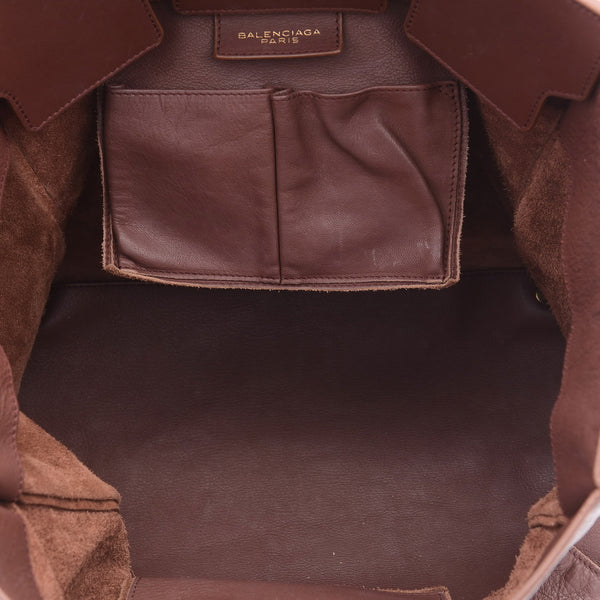 Brown Leather Paper Tote Bag
