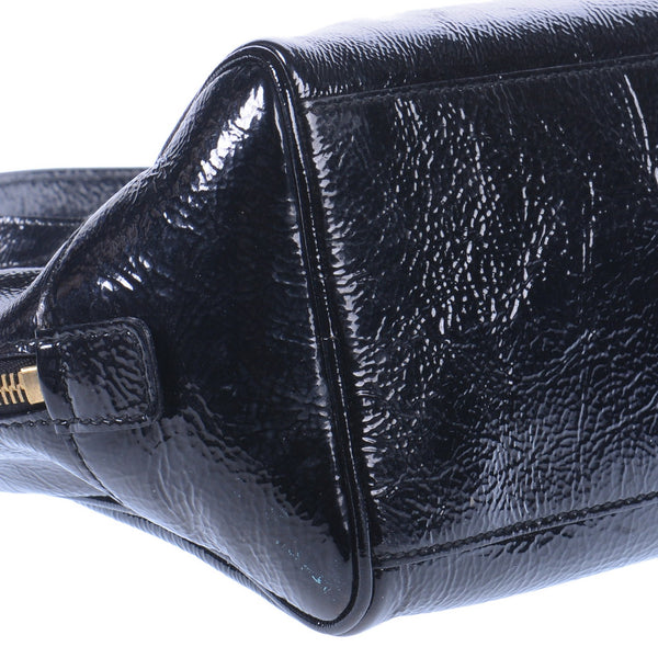 Black Patent Leather Y Mail Envelope Mini Bag