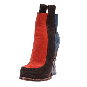 Multicolored Suede Booties With Black Sculpted Heel