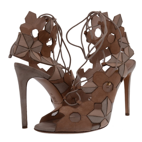 70s Floral Cutout Suede Lace Up Sandals