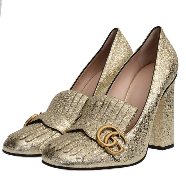 Gold Marmont Foil Leather GG Fringe Detail Block Pumps