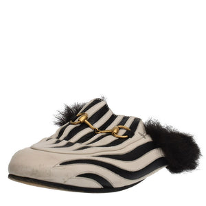 Princetown Fur Black & White Mules
