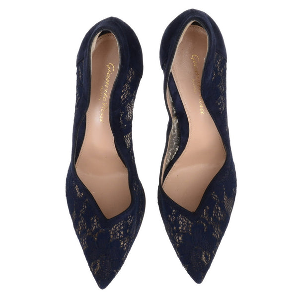 Navy Lace Suede Blue Heels