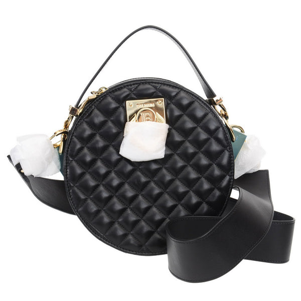 Cara Twist-Quilted Black Leather Bag
