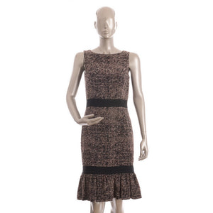 Brown and Black Cotton Lined Ruffled Dress