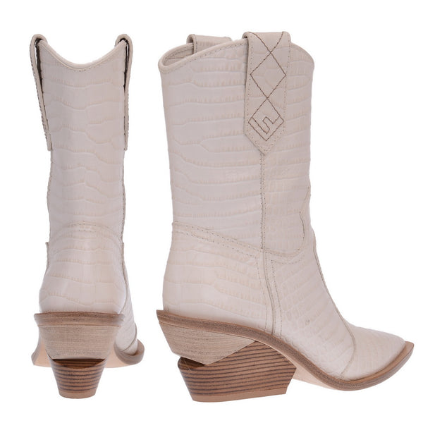 White Crocodile Embossed Ankle Boots