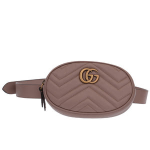 GG Marmont Matelasse Nude Leather Belt Bag