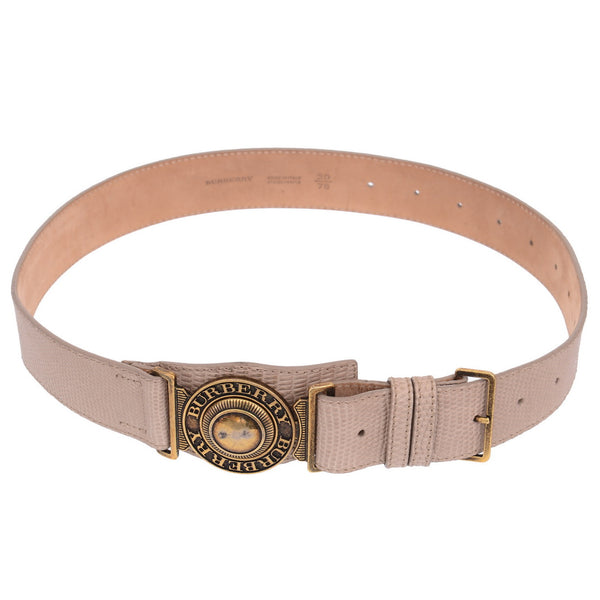 Lizard Embossed Beige Logo Belt