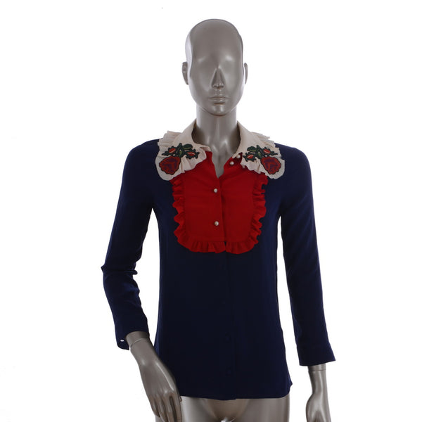 Navy Silk Blouse With Floral Collar