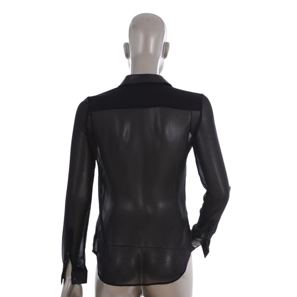 Black Sheer Blouse With Leather