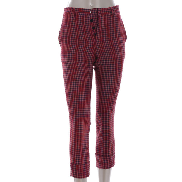 Burgundy Checked Wool Pants
