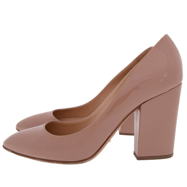 Court Nude Patent Chunky Heels