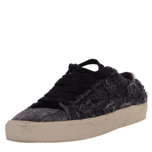 Black Denim Stars Court Trainers