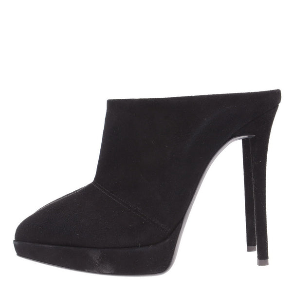 Black Olinda Suede Open Slip In Booties