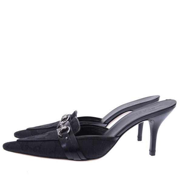 Black GG Canvas Horsebit Pointed Toe Mules