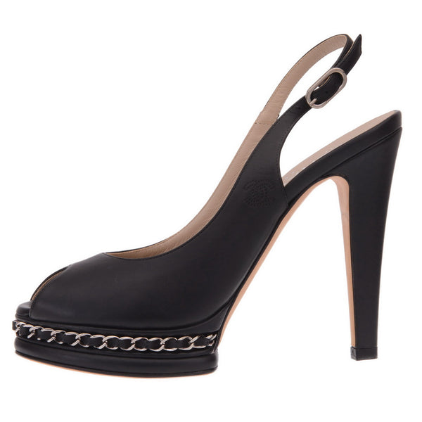 Black Leather Chain Platform Slingback