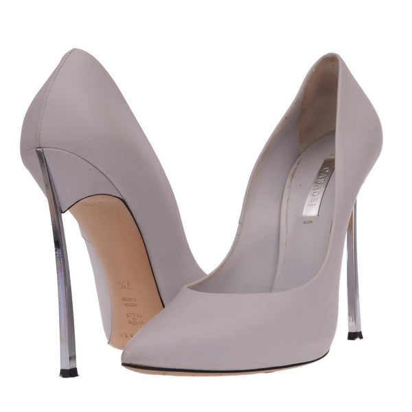 Grey Leather Blade Heels