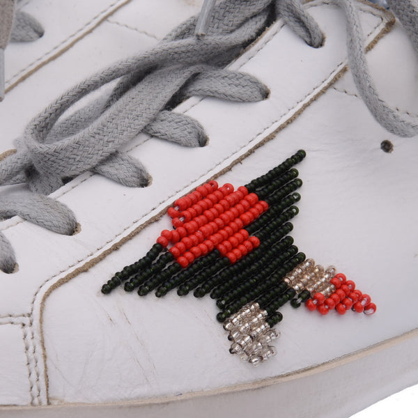 White Leather Super Star Beaded Trainers