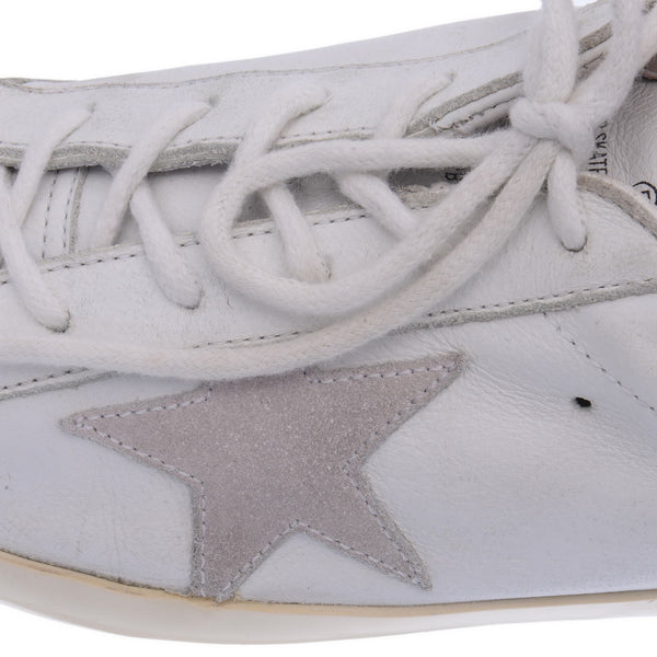 White Leather Glitter Trainers