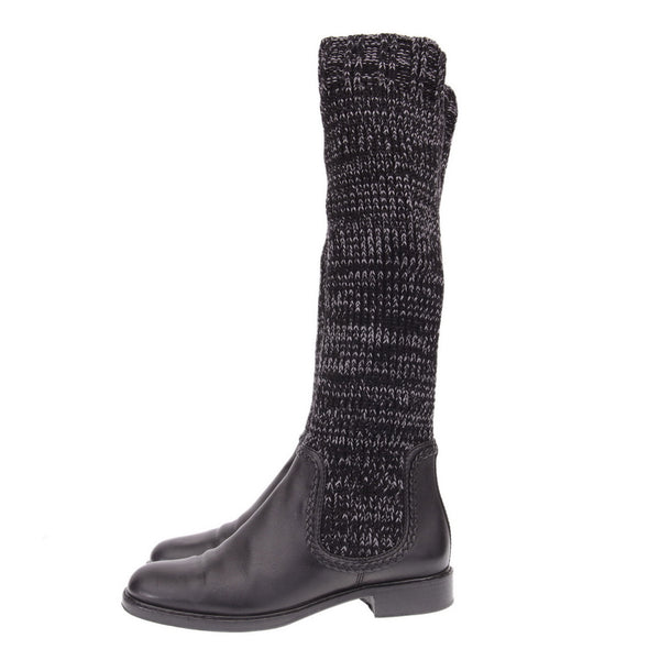 Black Knit Sock Leather Boots